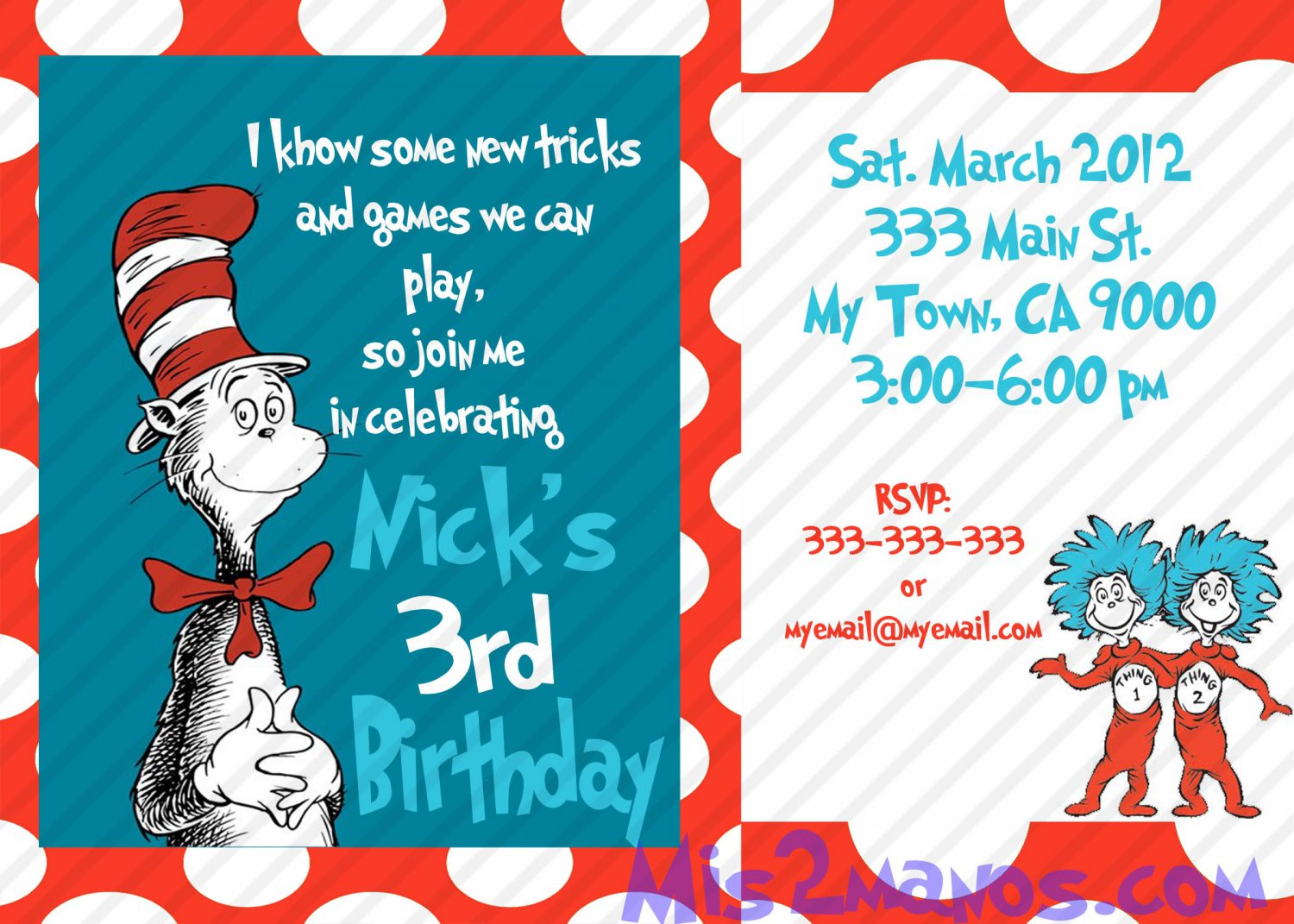 Cat In The Hat Birthday Invitations Printable One Hour