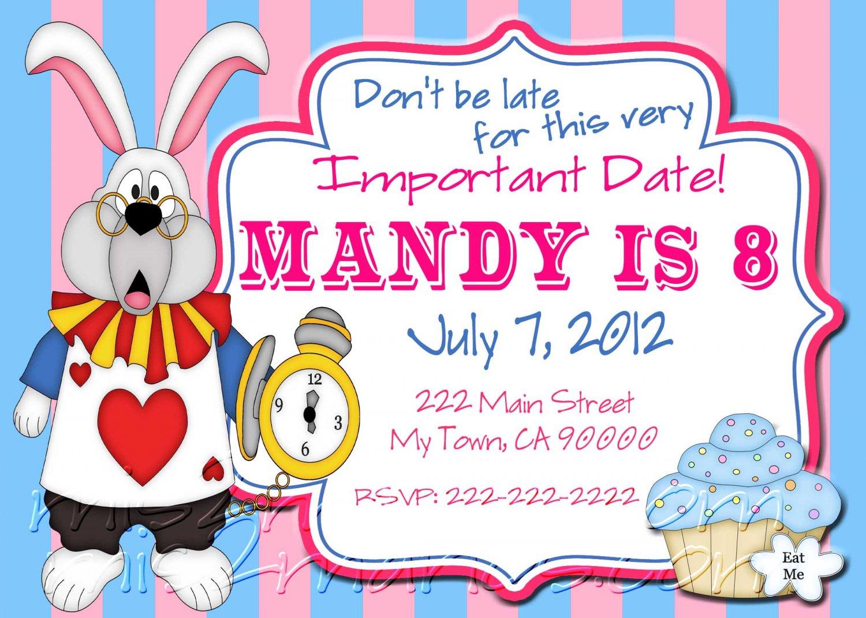 Tea Party Invitations Printable Birthday Alice In