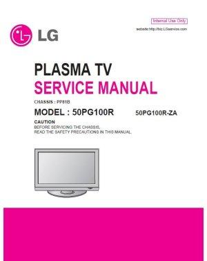LG 50PG100R 50PG100RZA PLASMA TV SERVICE REPAIR MANUAL