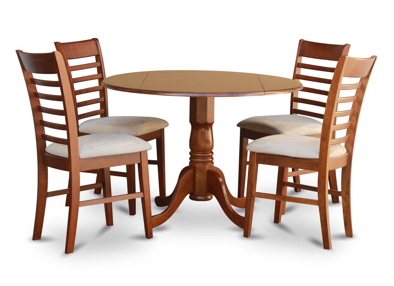 """5-Piece Dublin Dinette Kitchen 42"""" Diameter Round Table 4"""