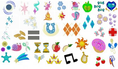 Embroidery Files 90 Mlp Cutie Marks In 250 Sizes