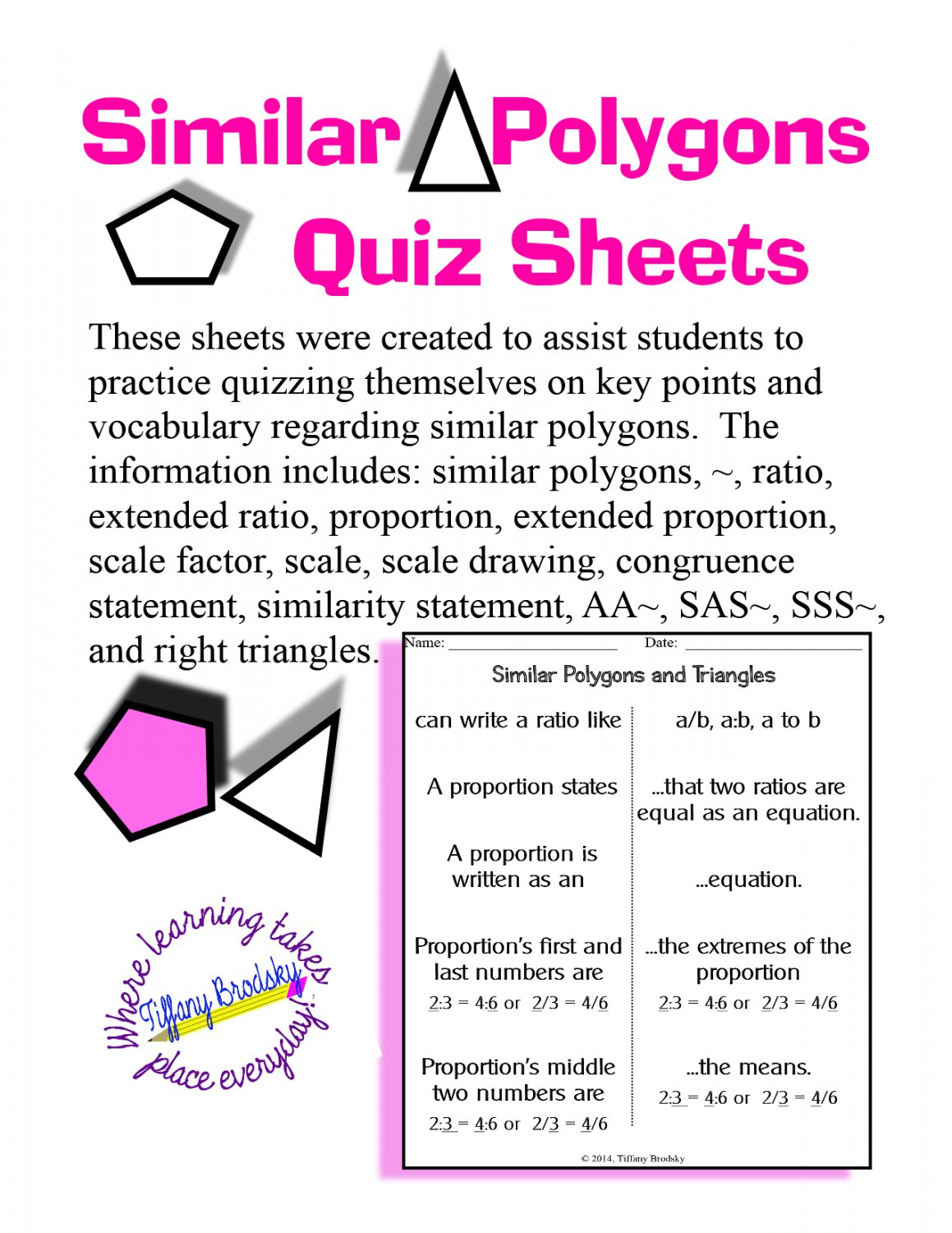 Similar Polygons And Triangles Self Quiz Sheets For