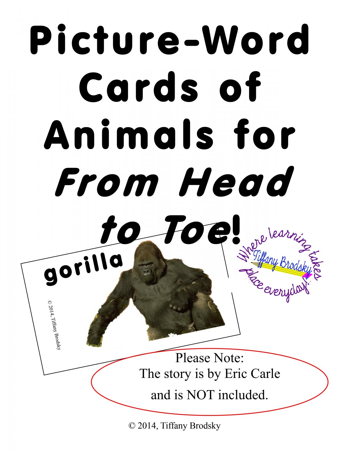 Picture Word Cards For From Head To Toe By Eric Carle 12