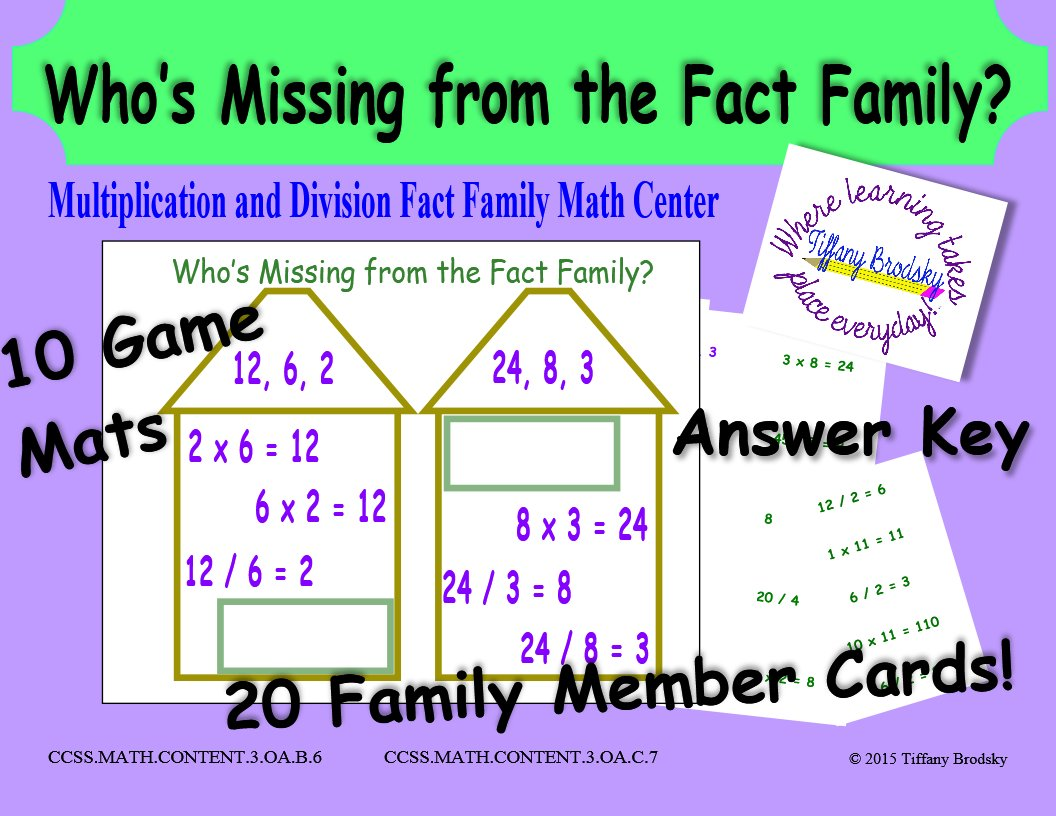Who S Missing From The Fact Family Multiplication And