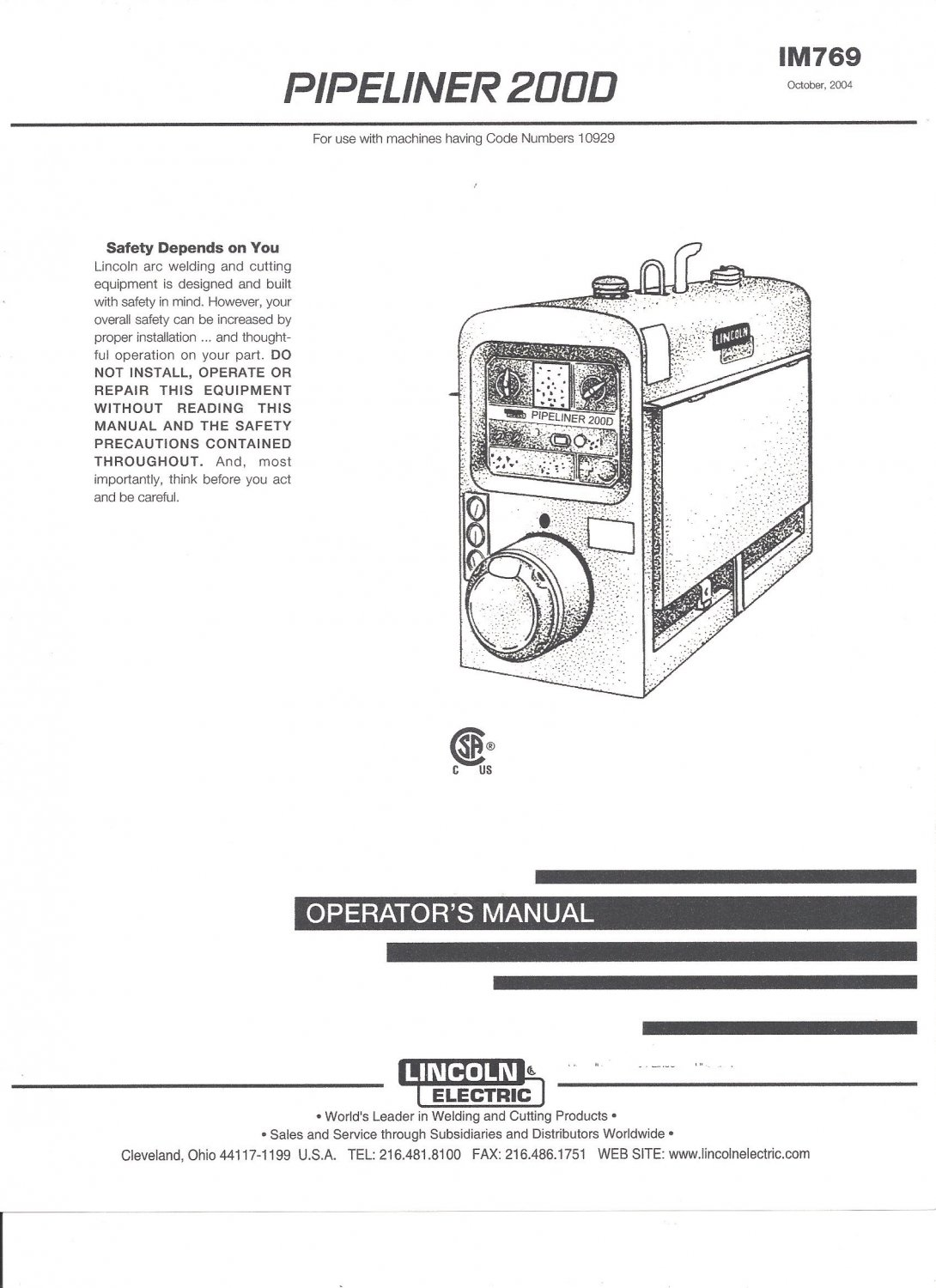 Lincoln Electric Pipeliner Welder Operater Manual Copy