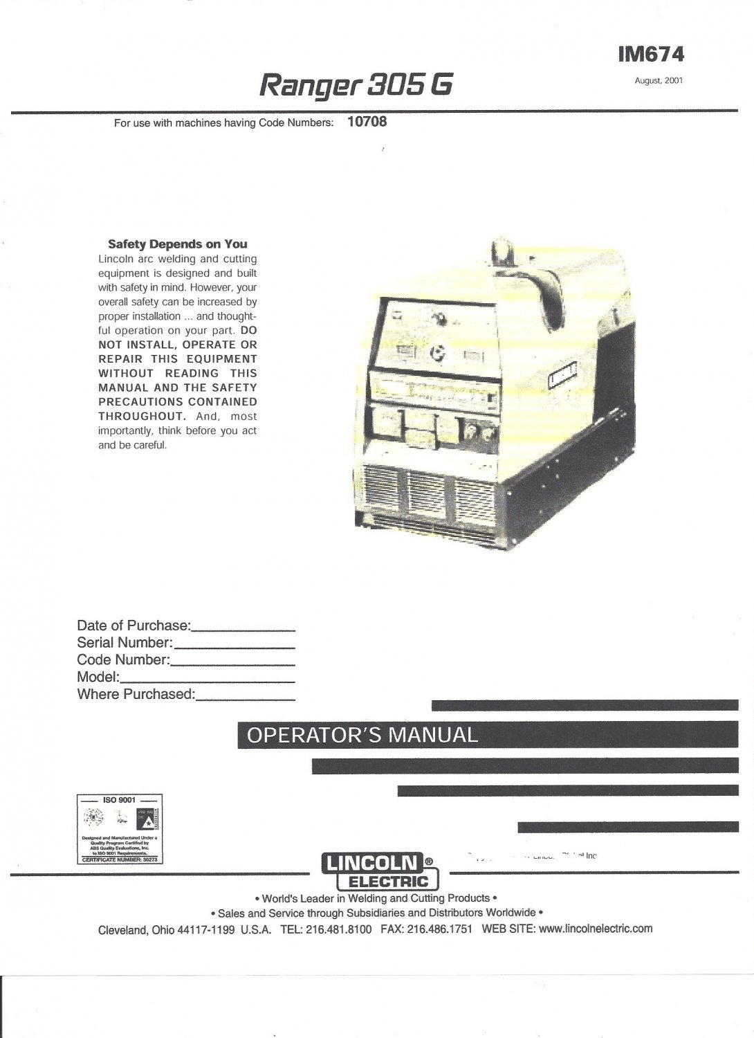 Lincoln Electric Ranger 305 G Welder Operator S Manual Copy