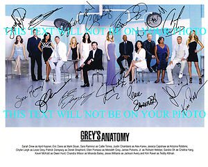 GREYS ANATOMY FULL CAST SIGNED AUTOGRAPHED 8x10 RP PROMO ...