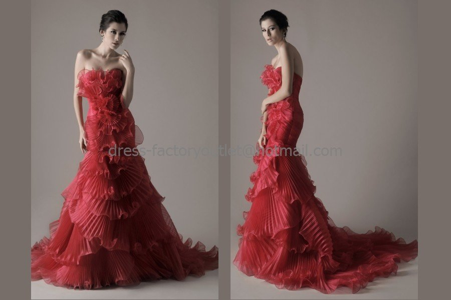 Crep Organza Bridal Dress Red Flower Ball Gown Memaid