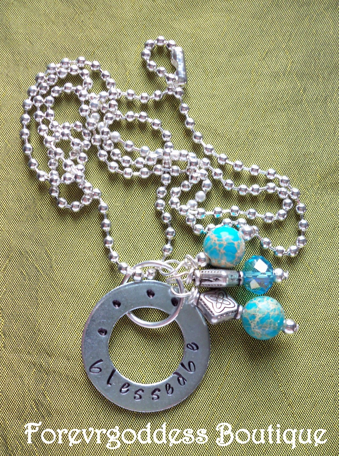Blessed Be Blue Crazy Lace Necklace