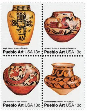 Rainbow Wall United States Postage Stamps Pueblo Art Stamps