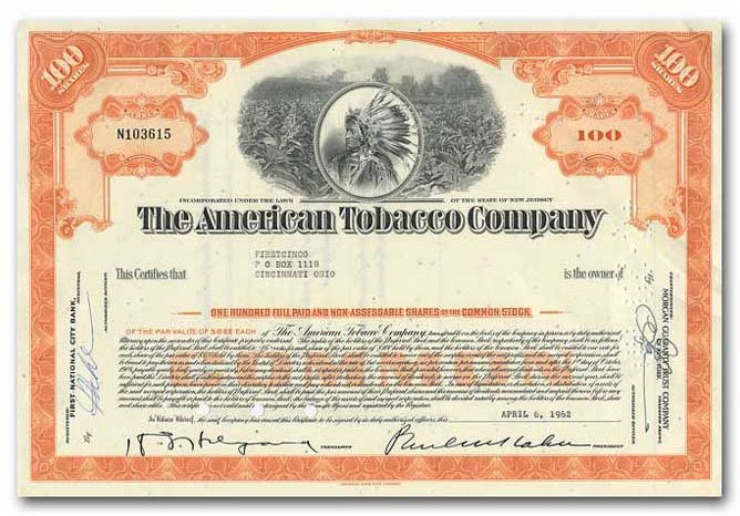 Vintage Stock Certificates from Rainbow Wall  - The American Tobacco Company Stock Certificate