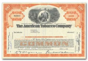 Rainbow Wall Vintage Stock Certicate For Sale American Tobacco Company