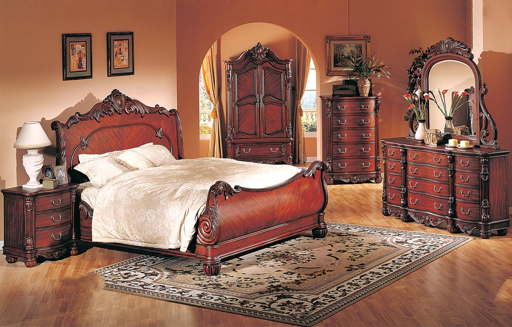 4 Pc Modern High End Traditional Cherry Queen Bed Bedroom