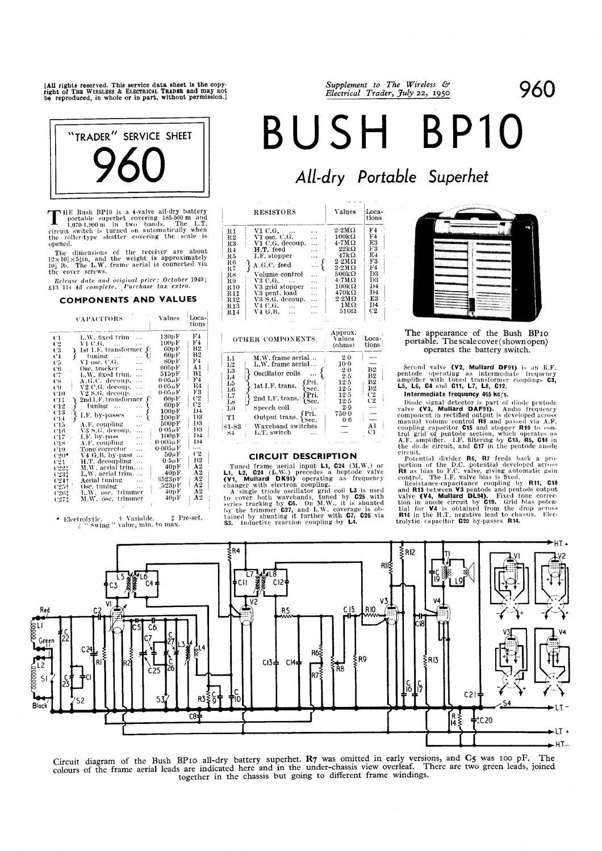 Bush Bp10 Vintage Wireless Service Schematics Download