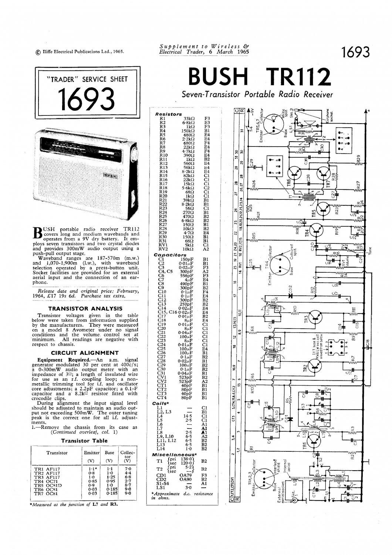 Bush Tr112 Vintage Wireless Service Schematics Download