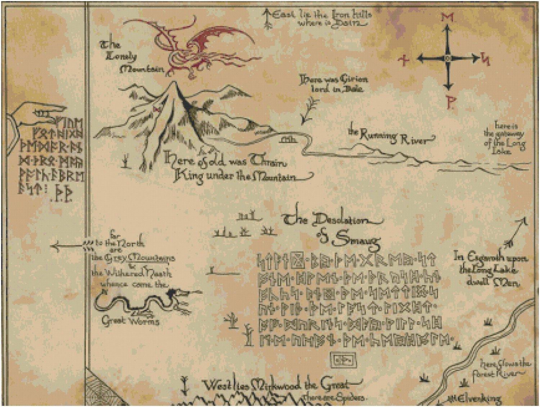 Hobbit Thorin Oakenshield Map Cross Stitch Pattern Only