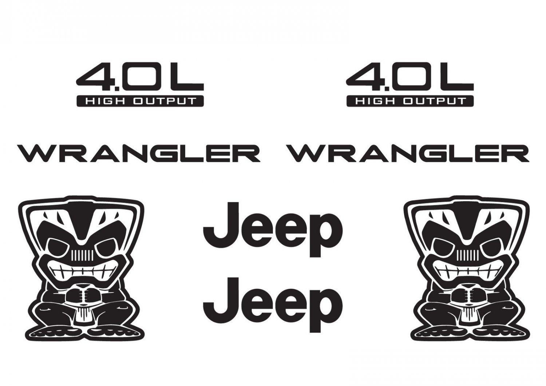 Jeep Wrangler Tiki Bob Refresh Kit Vinyl Sticker Decal 4x4