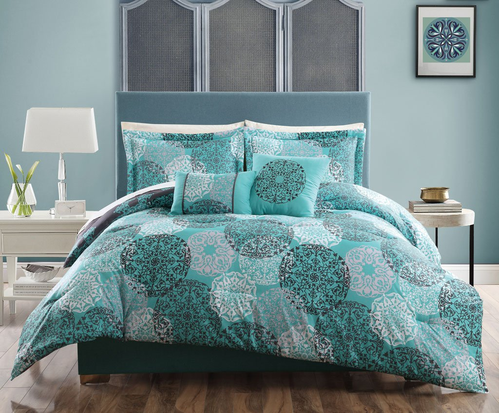5-pc Teal Blue Gray White QUEEN Comforter Circle Medallion