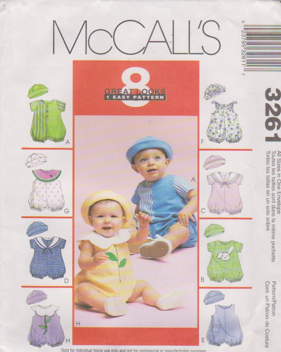 McCalls Sewing Pattern 3261 M3261 Baby Infant Size 13 24 25 32 Easy Rompers Hats