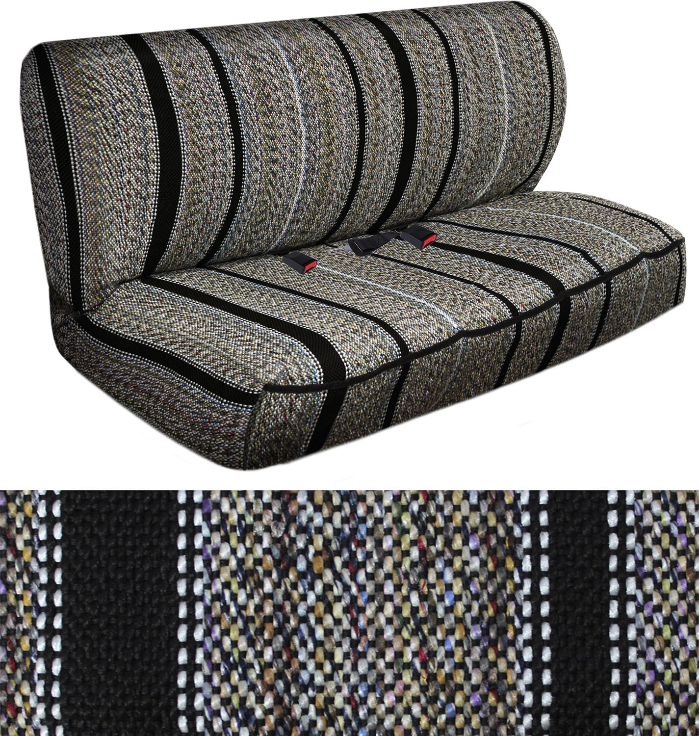 Car Seat Covers Black Western Woven Saddle Blanket 2pc