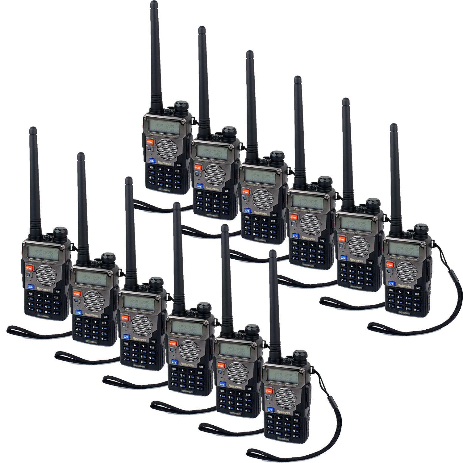 12x Retevis Rt 5rv Walkie Talkie 128ch Vhf Uhf Ctcss Dcs