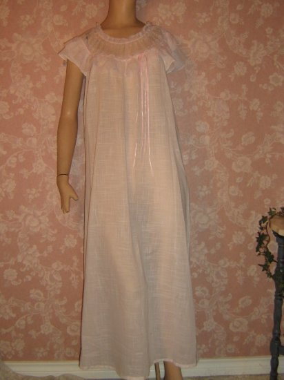 Precious Pink Cotton Batiste Nightgown Long Lacy Feminine