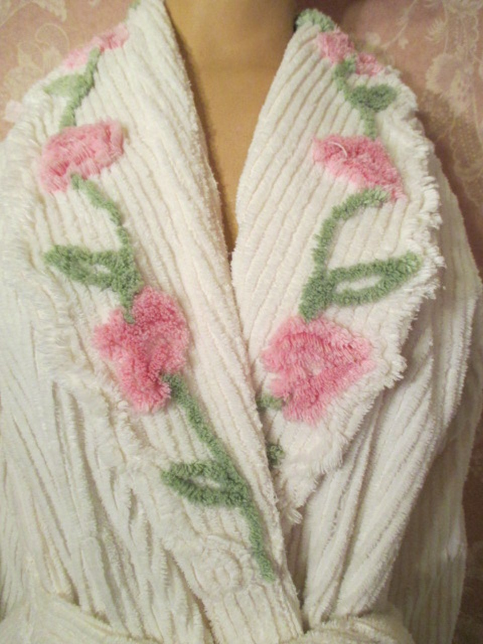 sold vintage chenille robe white pink