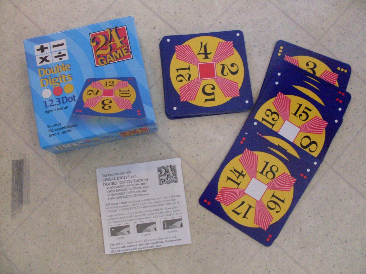24 Game Double Digits 1 2 3 Dot Math Card Game