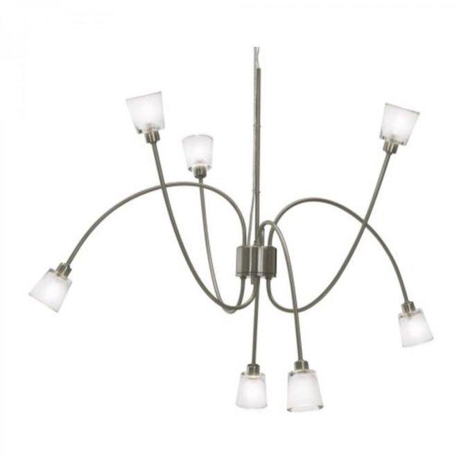 Ikea Kryssbo Chandelier Light Pendant Lamp Glass Nickel Steel Adjule 7 Arm