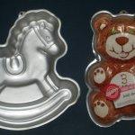 Wilton Animals Aluminum Cake Pan Lot Of 2 Rocking Horse Teddy Bear 2105 9402 2388