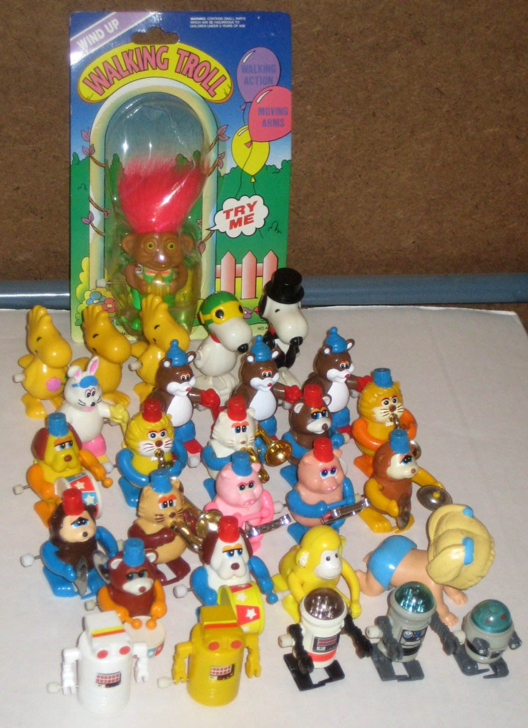 Walking Wind Up Toy Lot Tomy Animal Marching Band Snoopy