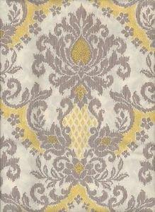 Yellow Gray White Bedazzled DAMASK Shower Curtain NEW Fleur De Lis