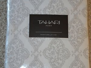 TAHARI SILVER GRAY White DAMASK Shower Curtain NEW Paisley Fleur De Lis Chic