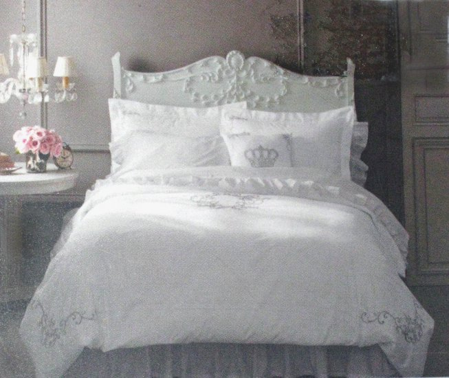 Simply Shabby Chic White Silver Gray Embroidered King
