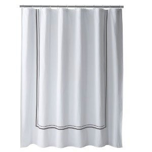 Fieldcrest Luxury Gray Border White Fabric Shower Curtain