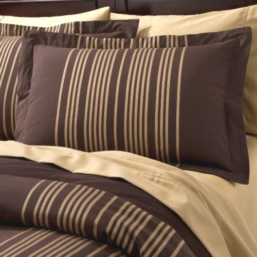 Fieldcrest Luxury Gold Stripe King Duvet Set 2 Shams