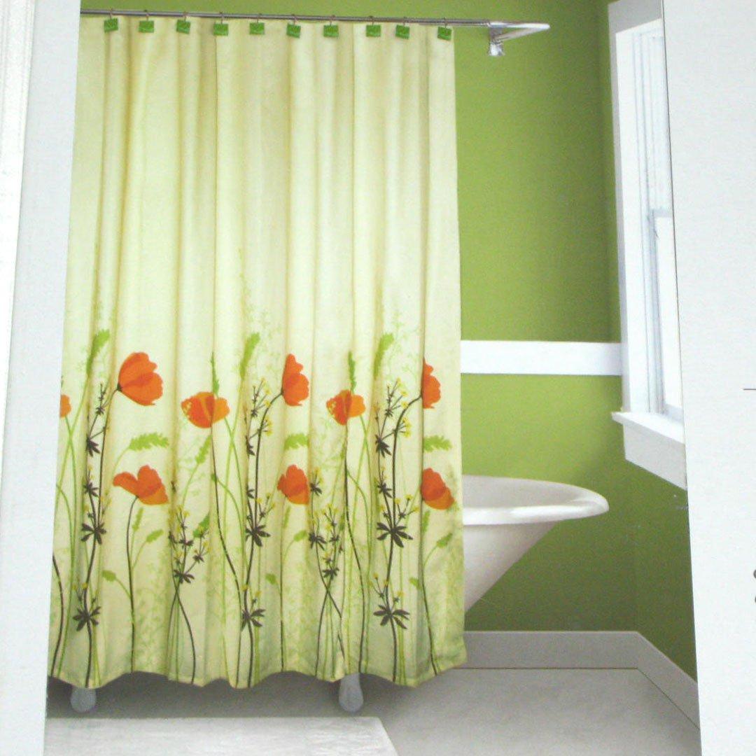 Springmaid Chantal Orange Green Brown Fabric Shower Curtain