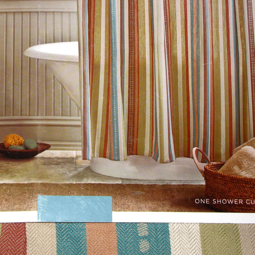 Target Home WOVEN DOT STRIPE Fabric Shower Curtain Turquoise Red Brown Tan Green