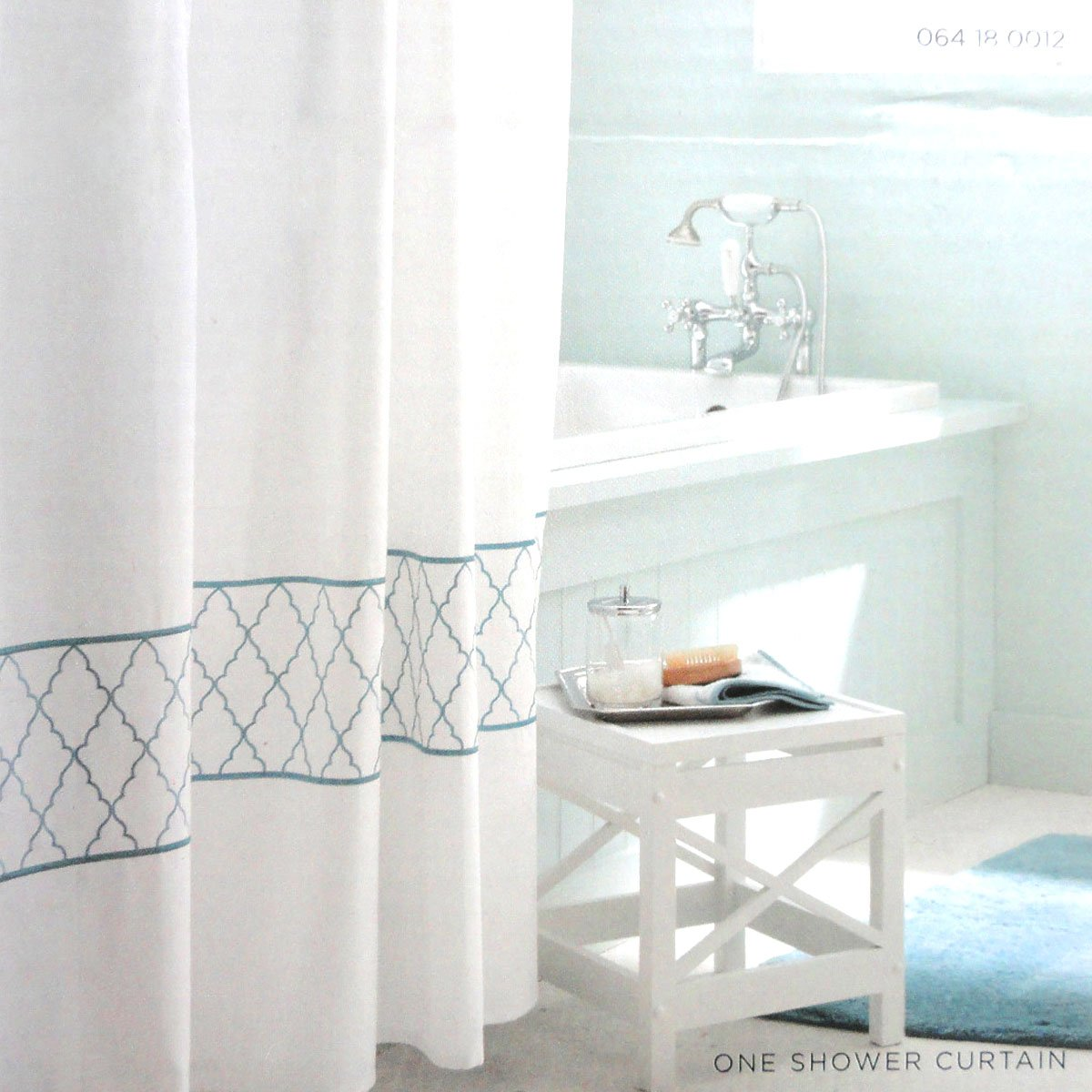 Target Home EMBROIDERED OGEE Fabric Shower Curtain Blue Aqua White