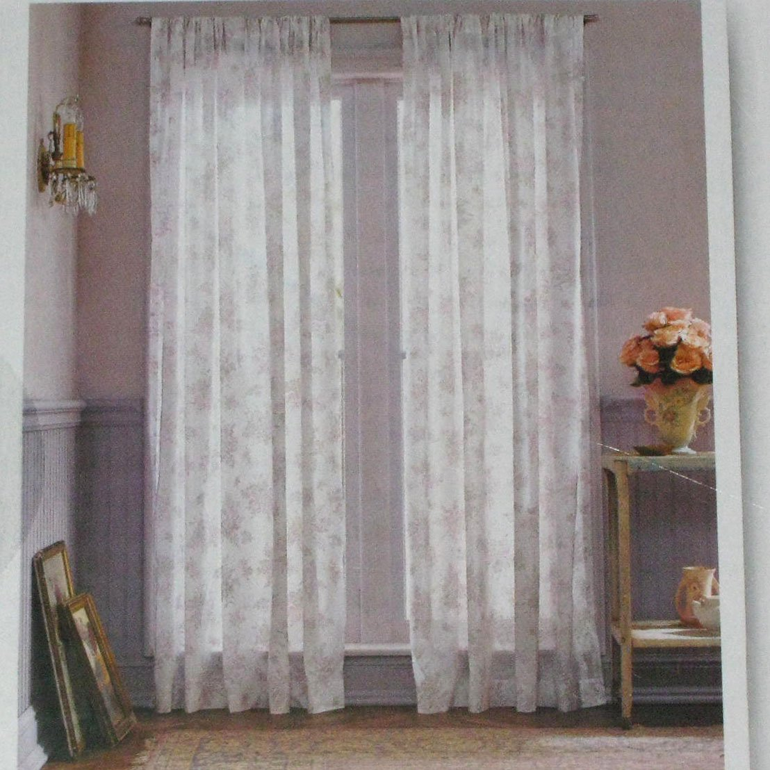 Simply Shabby Chic WHITE VOILE Lavender Floral Orchid Window Panels Curtains 54 X 84