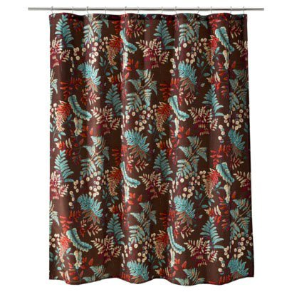 Threshold RUST FERN Brown Teal Red Orange Fabric Shower Curtain Target