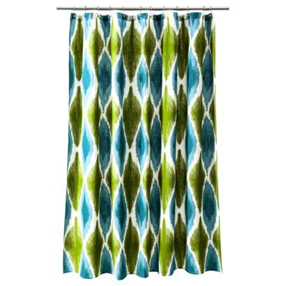 Threshold LARGE IKAT PRINT COOL Blue Teal Green Fabric Shower Curtain Target
