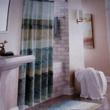 Threshold SCALLOP DOT Cool Seersucker Teal Aqua Gray Fabric Shower Curtain Target