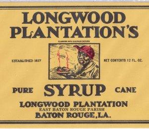 longwood plantation s syrup baton rouge la vintage can label
