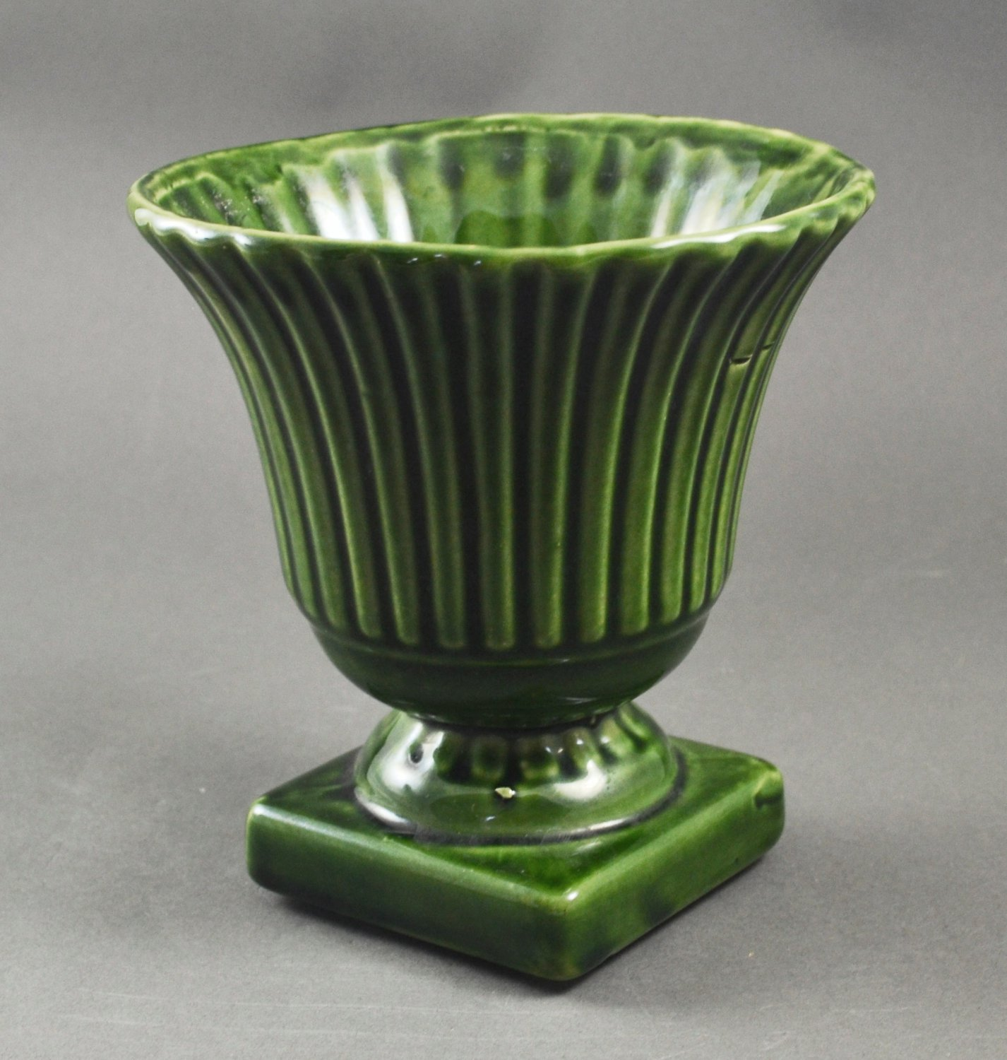 Vintage Pottery Green Ribbed Pedestal Vase Planter