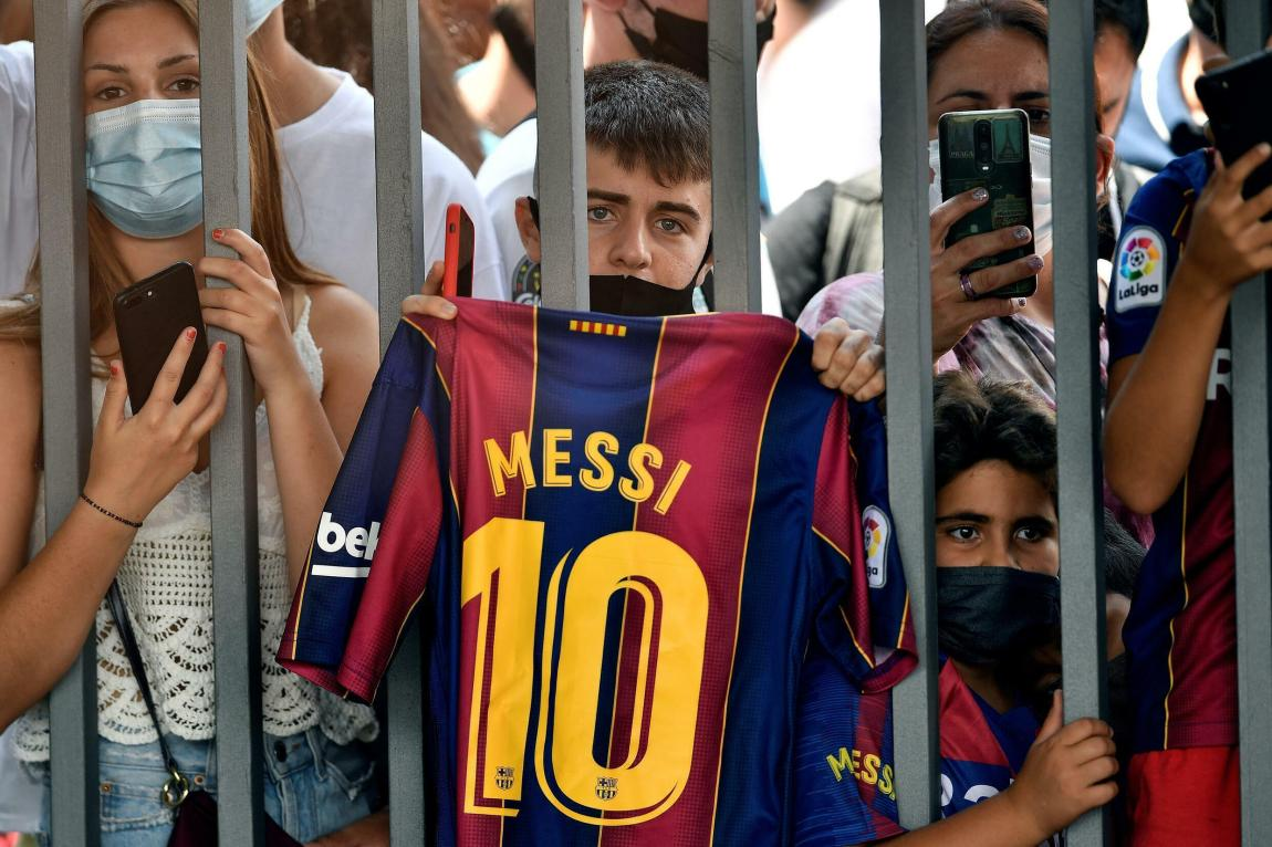 Barcelona fans gathered at the Camp Nou on Sunday to say goodbye to Lionel Messi