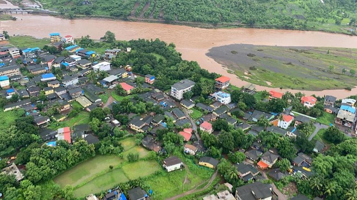 A photograph provided by the Indian Navy shows an aerial view of the Raigad district, Maharashtra, India, on July 23, 2021.