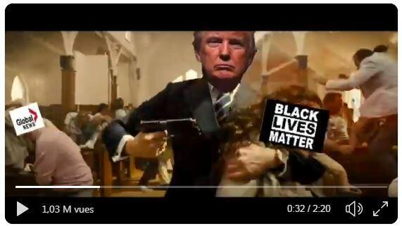 A brutal video clip depicting Donald Trump shooting and stabbing media figures and political opponents was shown at a conference for his supporters, the New York Times reported on Sunday.