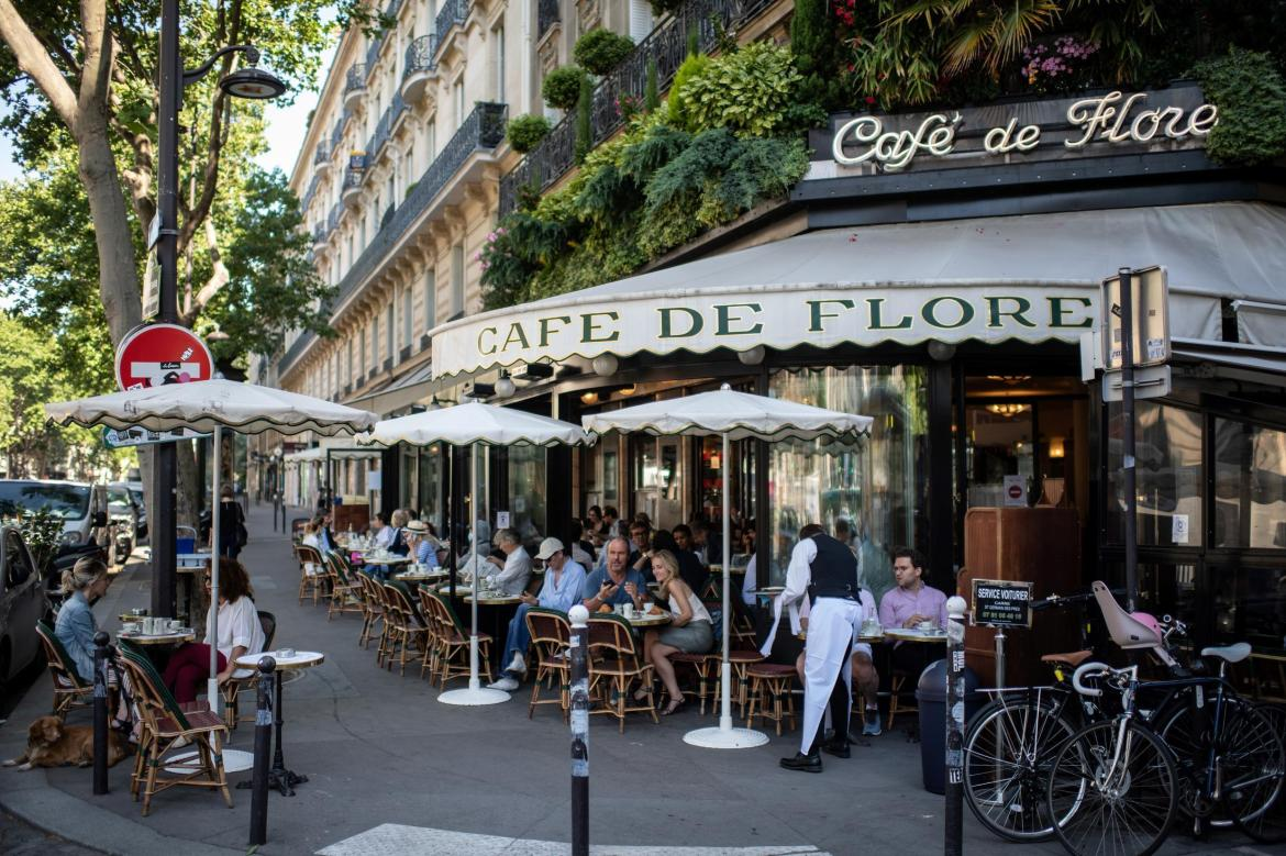 The iconic Café de Flore, one of the oldest and most celebrated coffeehouse in Paris.