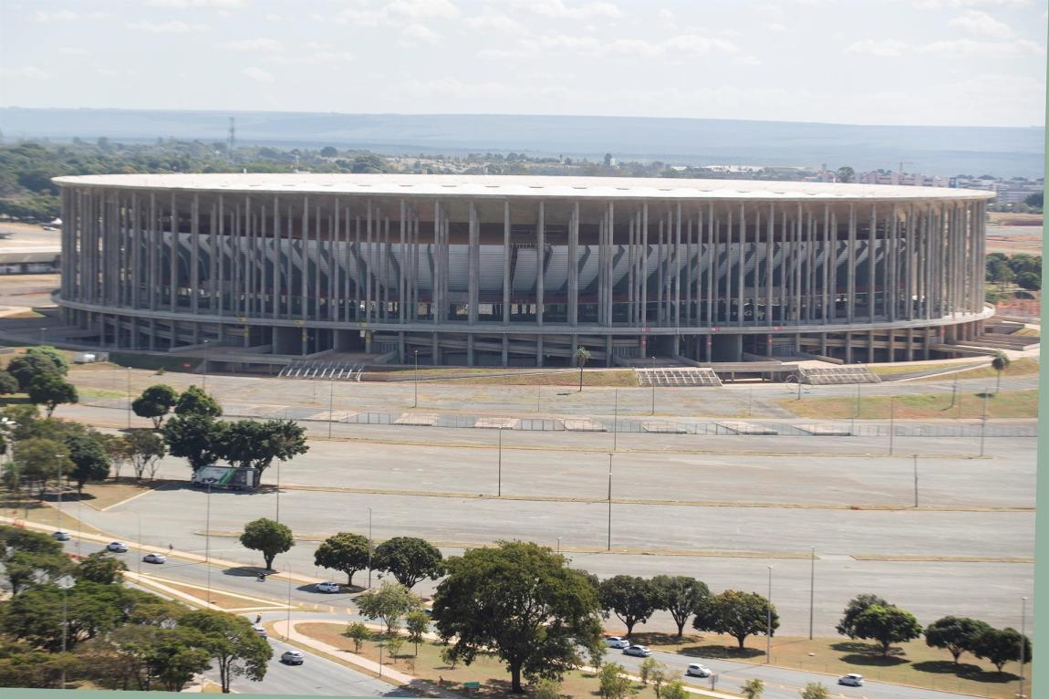 Exterior view of the Mané Garrincha Stadium, in Brasilia, one of the four venues of the Copa América in Brazil.  June 2, 2021.